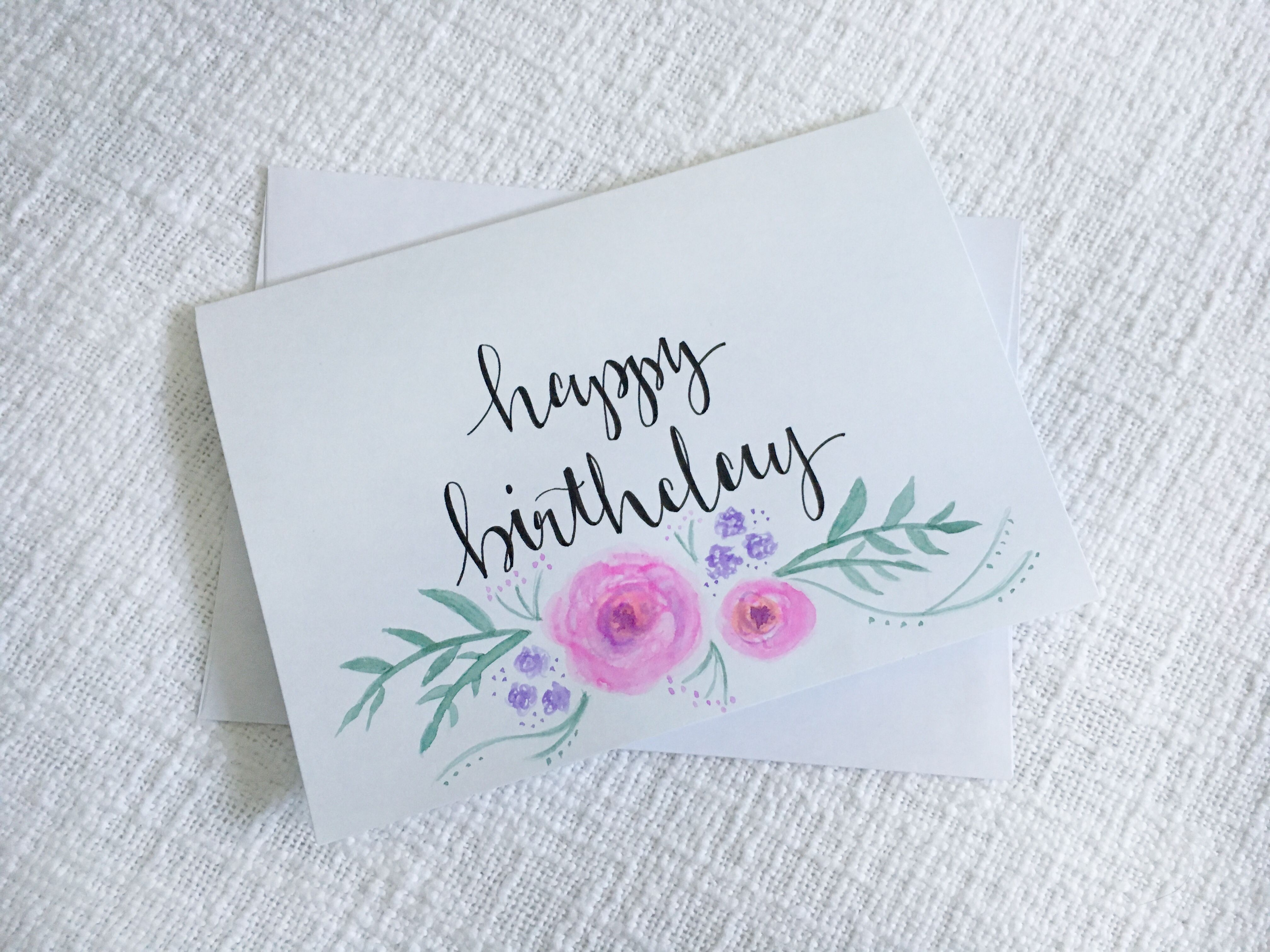 Happy Birthday Card Diy Birthday Card Hand Lettering Card