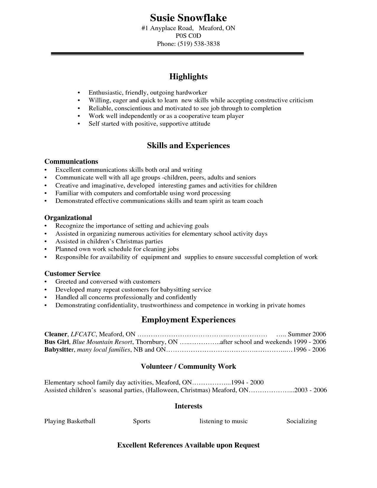 Resume Examples For High School Students Examples