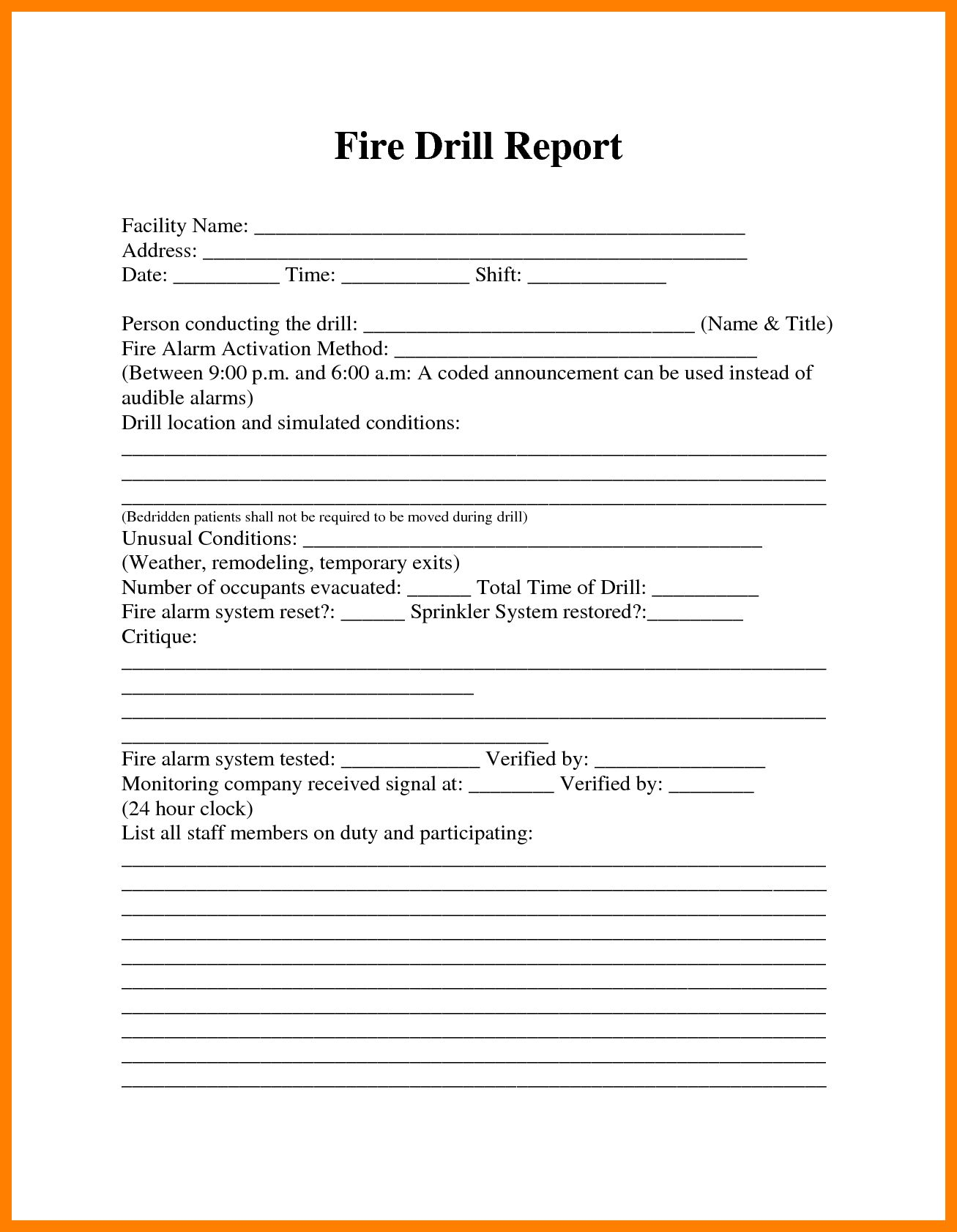 The Extraordinary Fire Drill Report Template Uk 12 Things That Happen When Inside Fire Evacuation Drill Report Template Fire Drill Procedures Fire Drill Drill
