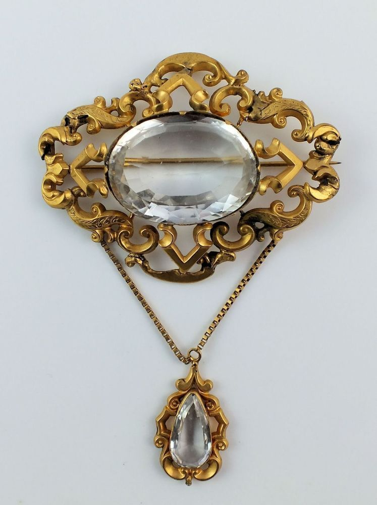 5bf49cda0 Antique 19thc Victorian Large Gilt Pinchbeck & Clear Paste Stone Dress  Brooch