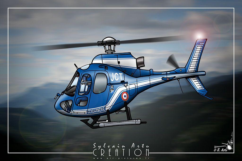 H licopt re ecureuil gendarmerie nationale dessin d - Gendarme dessin ...