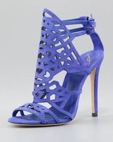 b brian atwood cutout suede sandal purple
