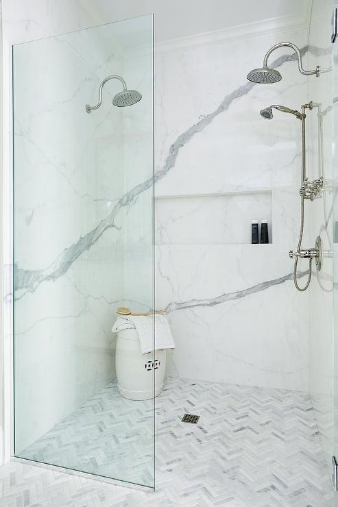 Marble Herringbone Shower Floor Tiles Bathrooms In 2019