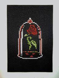 Afbeeldingsresultaat voor beauty and the beast rose cross stitch