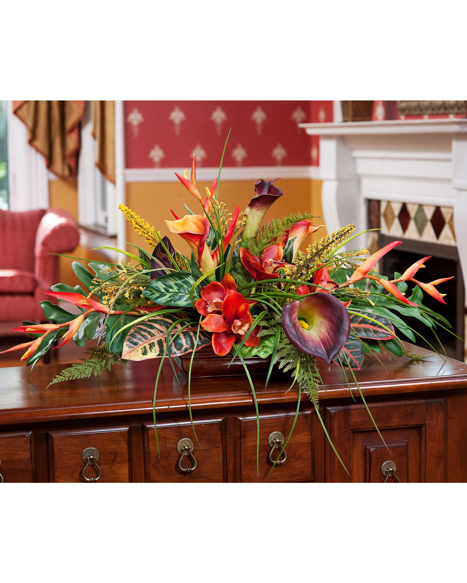 Fake floral arrangements for your table centerpiece tropical orchid calla lily silk fake floral
