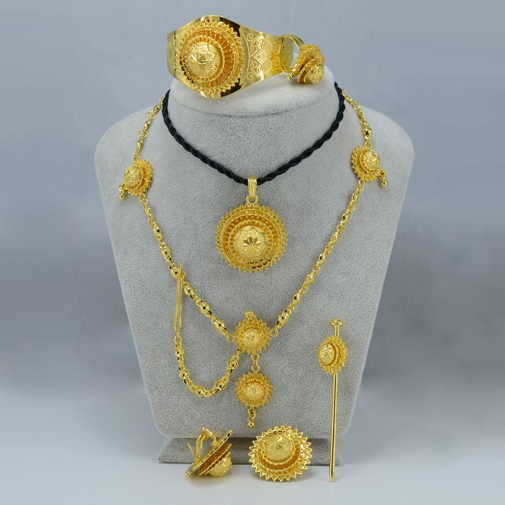 Ethiopian Jewelry set Yellow Gold Plated Eritrea set Ethiopia