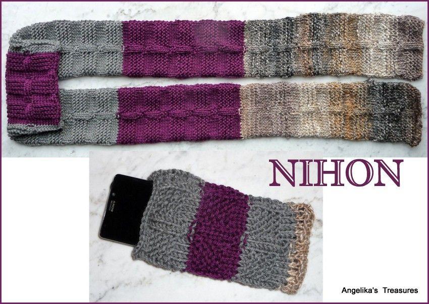 NIHON Sjaal met Gsm Hoes.  Sjaal: Patroon http://dianne-jones.blogspot.nl/2012/10/saturday-stitch-tile-stitch.html Ik heb gebruikt voor de sjaal:  22steken  Gebreid met 3 kleuren wol:  Paars:Nikke Victor Yarn,wool Life Solid Grijs: Lana Grossa, Bingo   Bruin: Noro The World of Nature, Silk Garden   Breinaald nr.5.5 Hij is 196 cm lang en 14cm breed.
