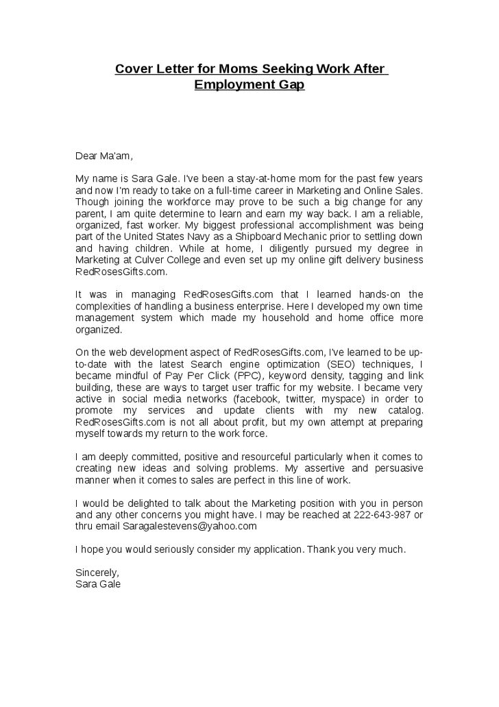 Letter Of Employment Gap Sample Cover Letter Content