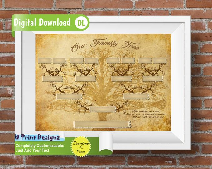 Custom Printable Family Tree - 4 Generations Template, INSTANT ...