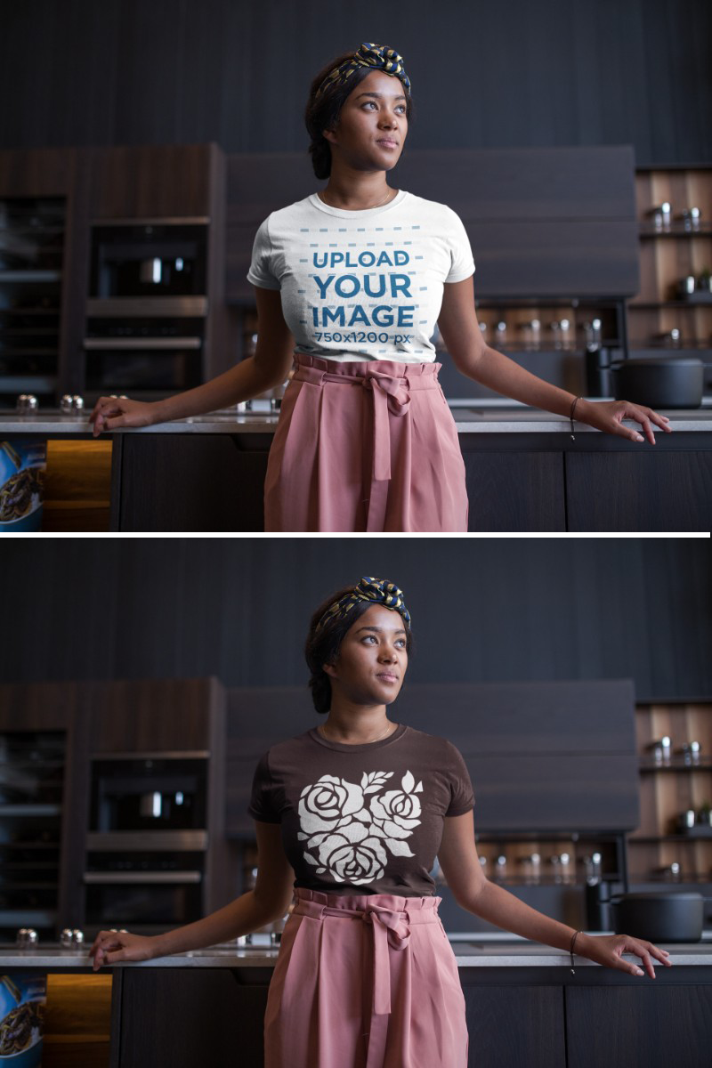 Download Placeit Mockup Of A Woman Wearing A Round Neck T Shirt While Leaning Against A Kitchen Counter Clothing Mockup How To Wear Women Wear