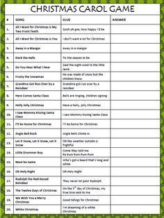 photo about Printable Christmas Song Games named Xmas Carol Video game - No cost Printable towards Game titles