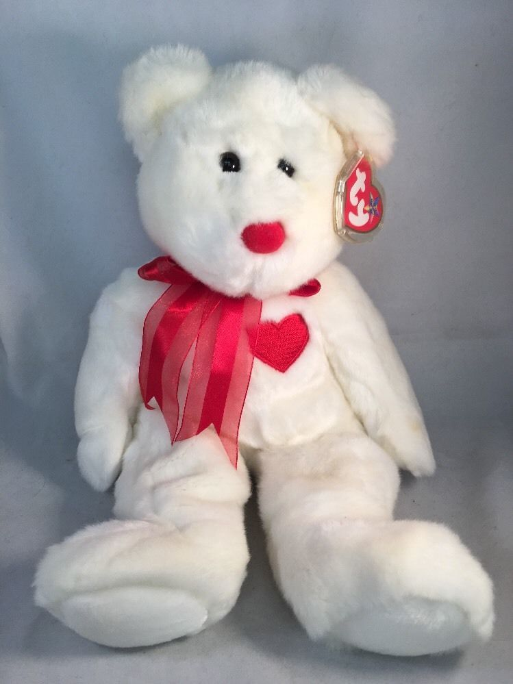 Check out Ty Beanie Buddy Collection Valentino White Bear Red Ribbon Heart  Nose 1999 EUC https d476200c41