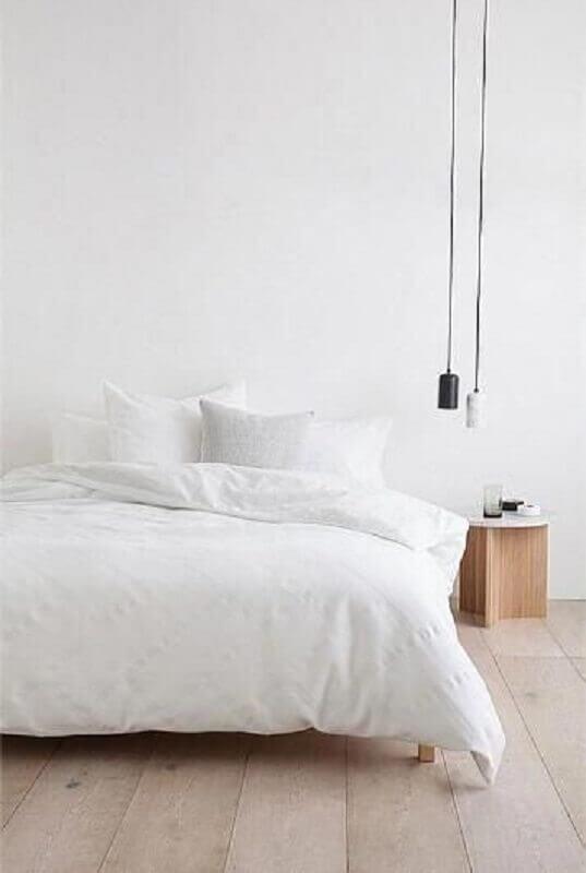 decoração de quarto minimalista todo branco com pendente moderno #casasminimalistas #casasminimalistasdecoração #casasminimalistasinteriores