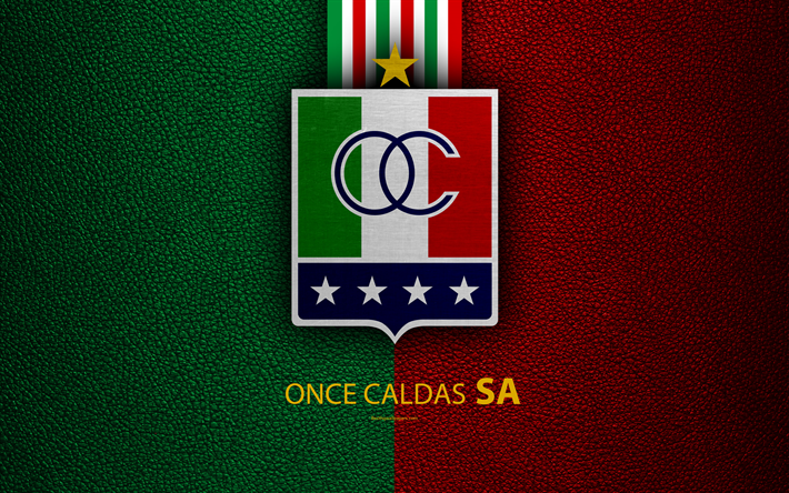 Download Wallpapers Once Caldas 4k Leather Texture Logo Green Red Lines Colombian Football Club Emblem Liga Aguila Categoria Primera A Manizales Colom In 2020 Leather Texture Football Club Leather