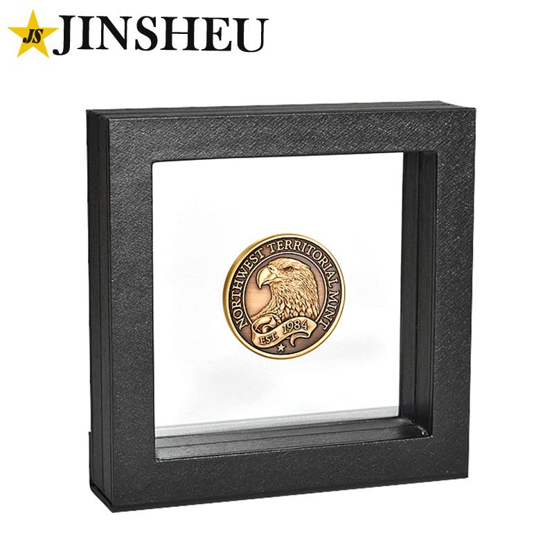 custom challenge coin with floating display case | Challenge