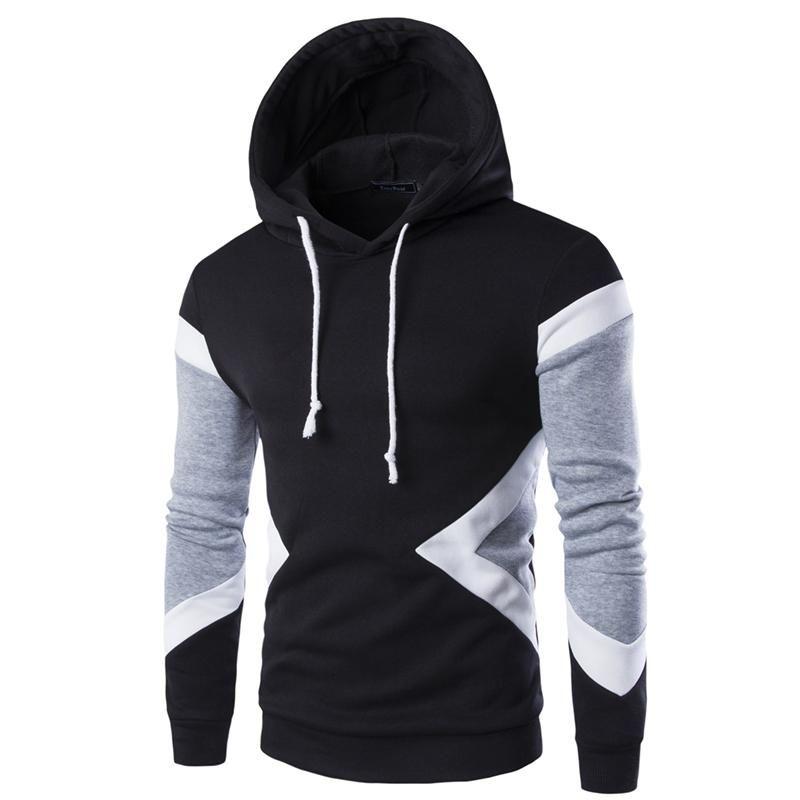 Herren Kapuzenpullis Sweatshirts Pullover Patchwork Fleece Jumper Sportswear Top