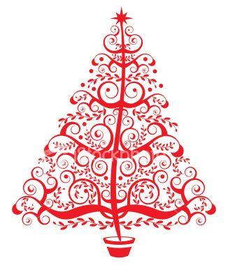 A Stylized Christmas Tree Christmas Tree Clipart Christmas Tree Graphic Red Christmas Tree