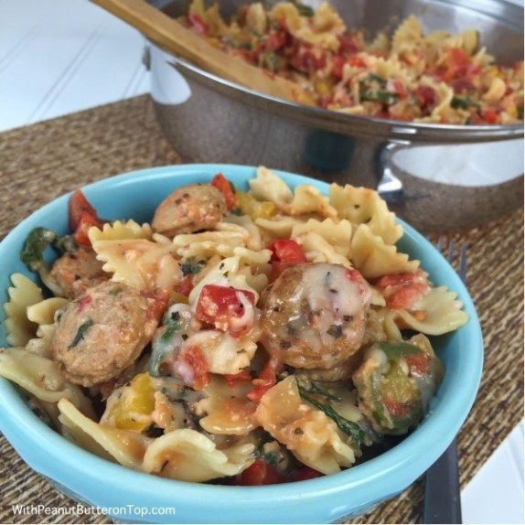 Photo of Cheesy Chicken Sausage Pasta | www.withpeanutbut…-Cheesy C…