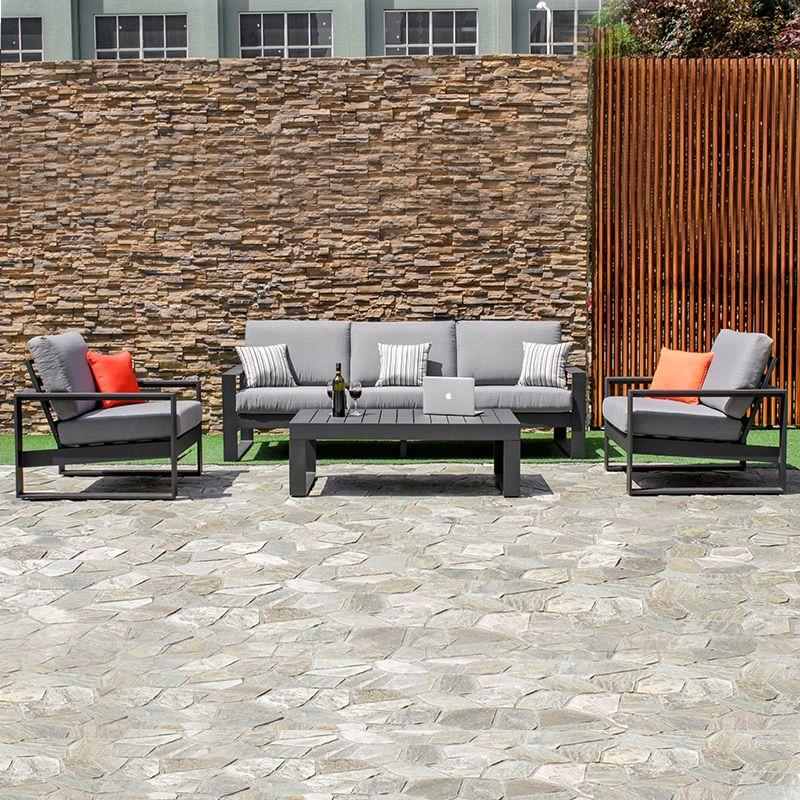 Maze Rattan Amalfi 3 Seat Aluminium Sofa Set