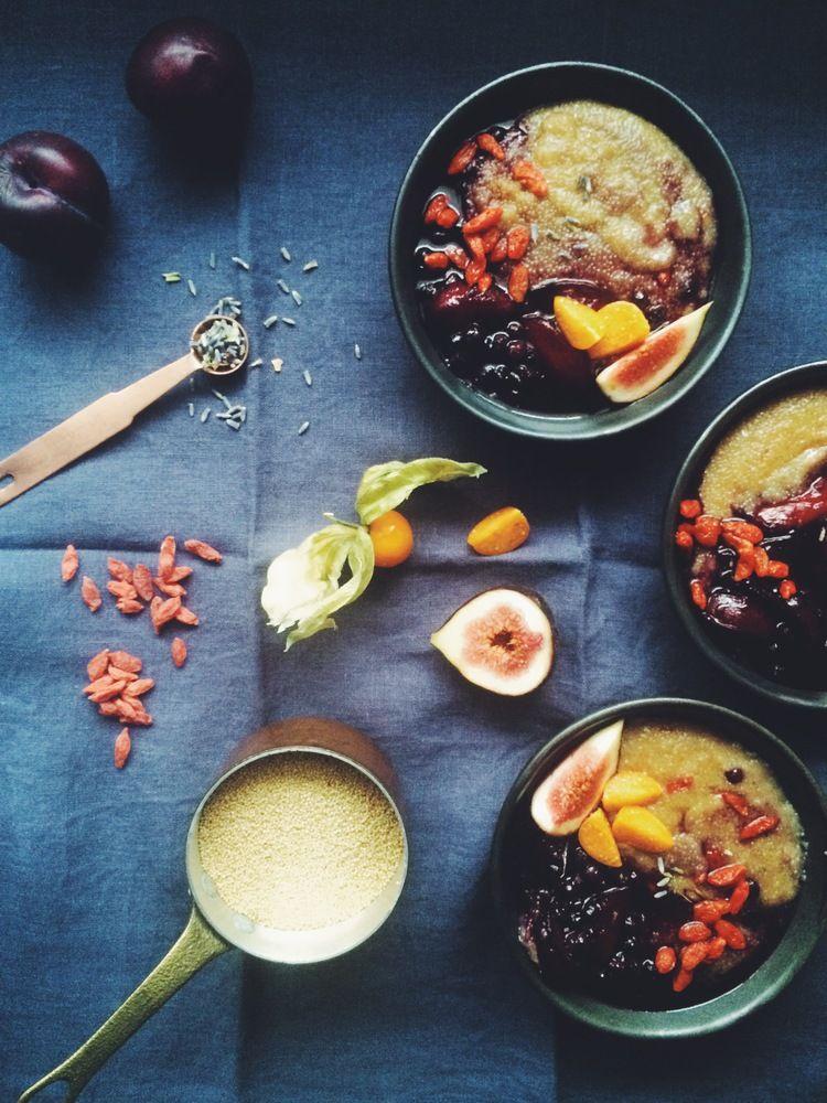 Baked Amaranth Porridge with Plum, Blueberry + Lavender Compote (gf + v) // my natural kitchen