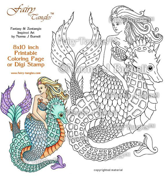 Mermaid and Seahorse Fairy Tangles Printable Coloring