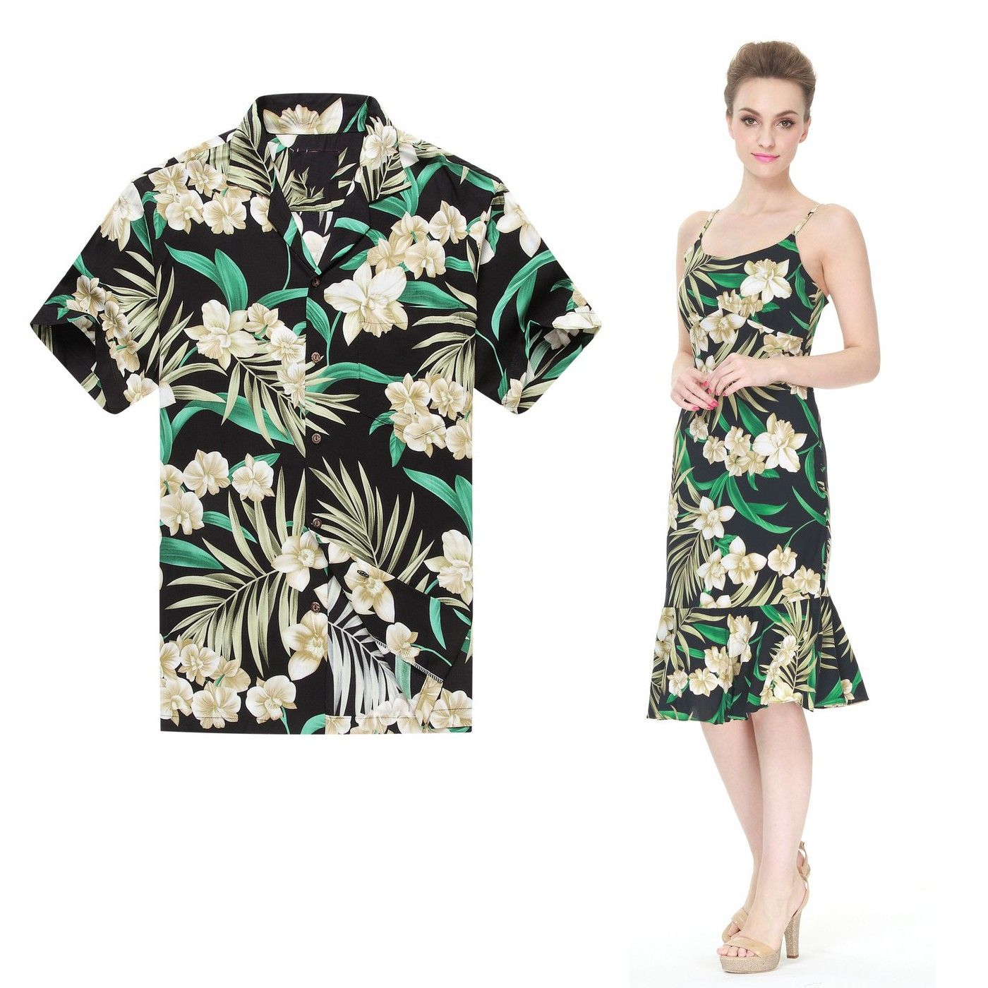 ff8c4503a8f Premium COUPLE MATCHING MADE IN HAWAII MEN SHIRT AND WOMEN Elegant Ruffle  Dress in Black Green Floral