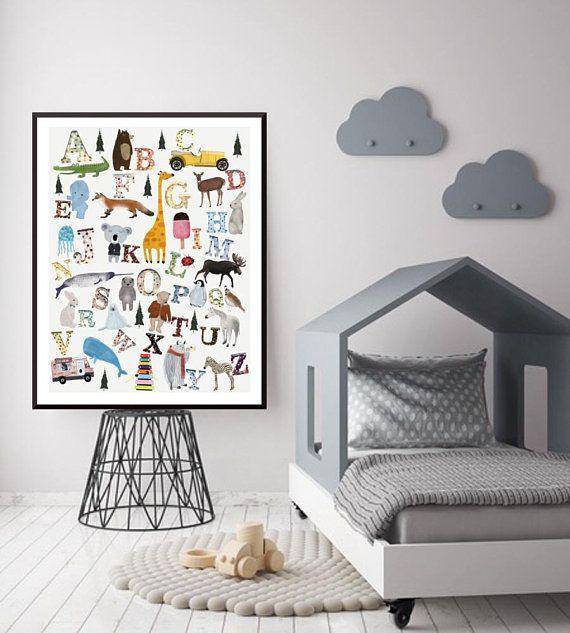 Nursery Alphabet Chart Wall Art Poster Print Abc