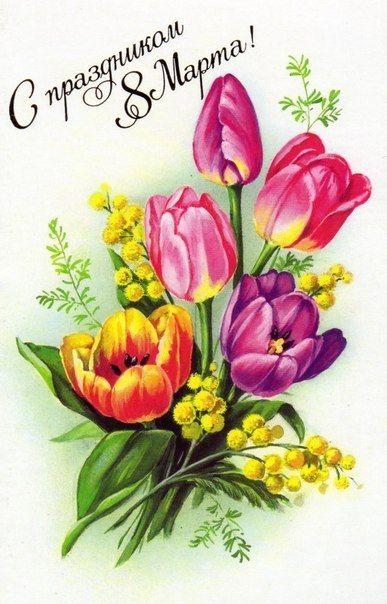 Starye Otkrytki K 8 Marta Cvety Tyulpany Otkrytki