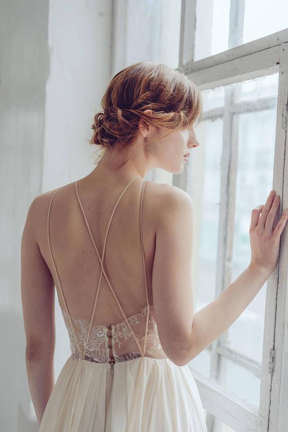 Silk wedding dress    Melita   Open back wedding gown 85bb9e6f15