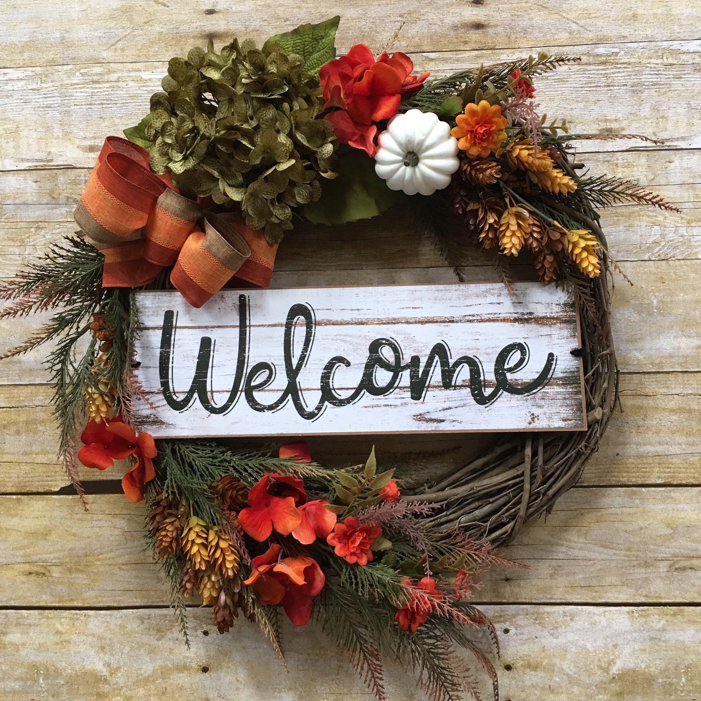 Photo of Fall Grapevine Wreath, Fall Wreath, Fall Wreath Front Door, Autumn Decor, Welcome Sign, Thanksgiving Wreath, Housewarming Gift, Door Decor
