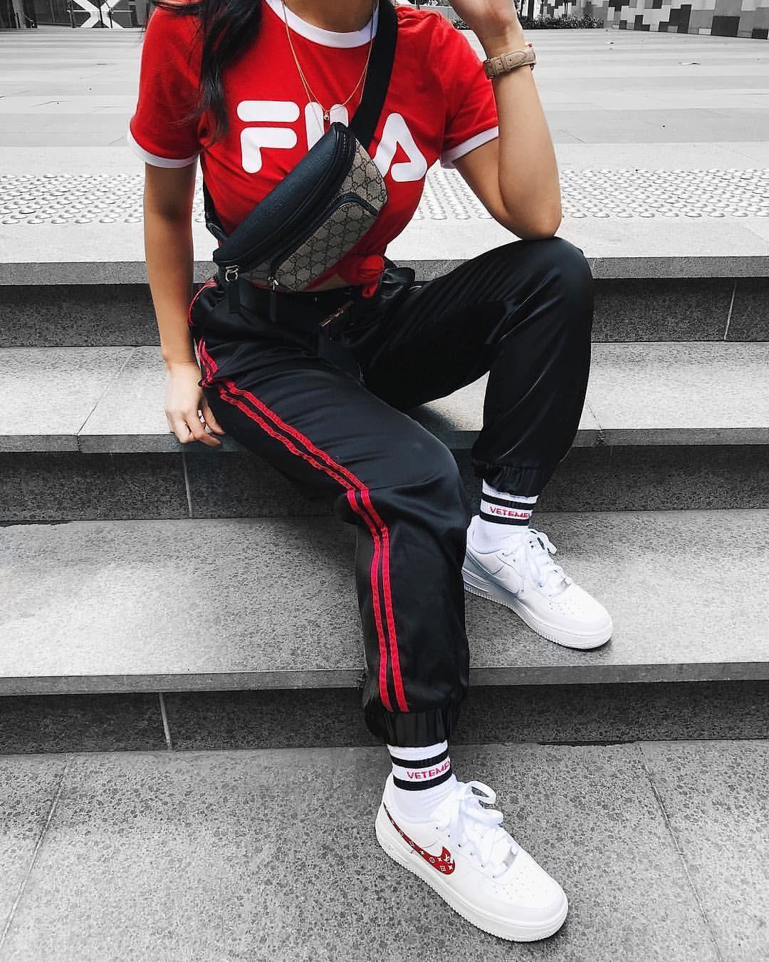 51ae1bbc1100 Top  tumblr fila hoodie black hoodie tights net tights fishnet tights pants  black pants joggers