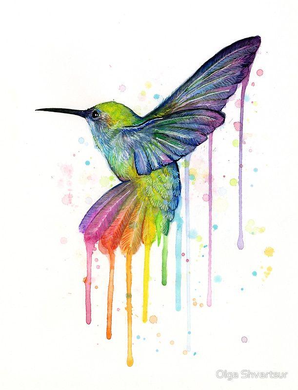 Kolibri Aquarell Regenbogen Kunstdruck Von Olga Shvartsur