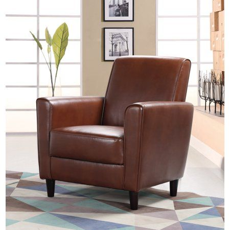 Terrific Best Master Furniture Brown Faux Leather Accent Chair In Creativecarmelina Interior Chair Design Creativecarmelinacom