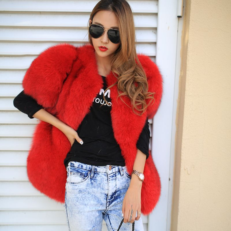 Find More   Information about factory wholesale price  2014 noble fox fur outerwear short sleeve medium long fur overcoat vest women winter natural real furs ,High Quality  ,China   Suppliers, Cheap   from pure   color on Aliexpress.com