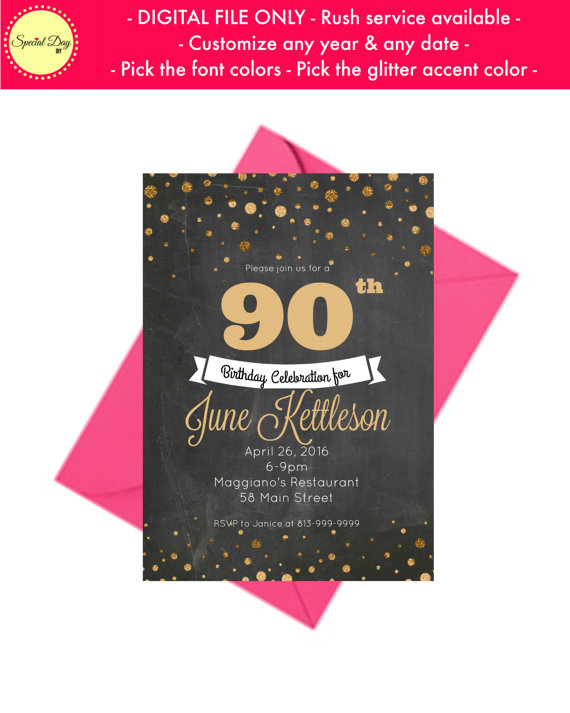 90th Birthday Chalkboard Invitation Personalized Party I