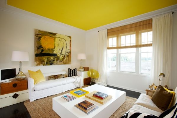 Yellow ceiling paint color ideas with white wall for living room ...