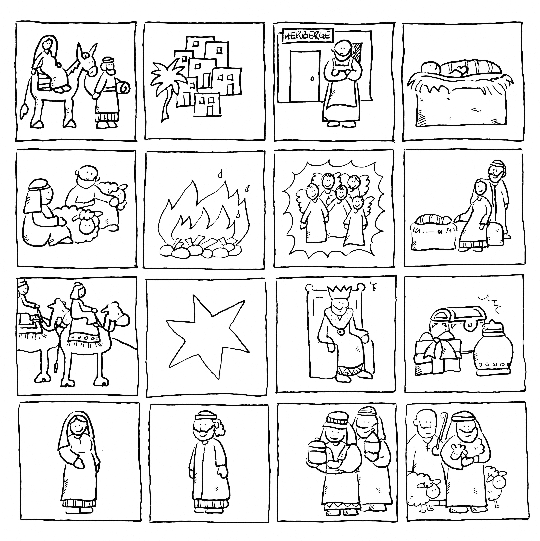 Weihnachtsmemory Ausmalen Zweimal Auf Festes Papier Kopieren Ausschneiden Spielen Weihnachtsgeschichte Weihnachtsbasteln Weihnachtsbasteleien