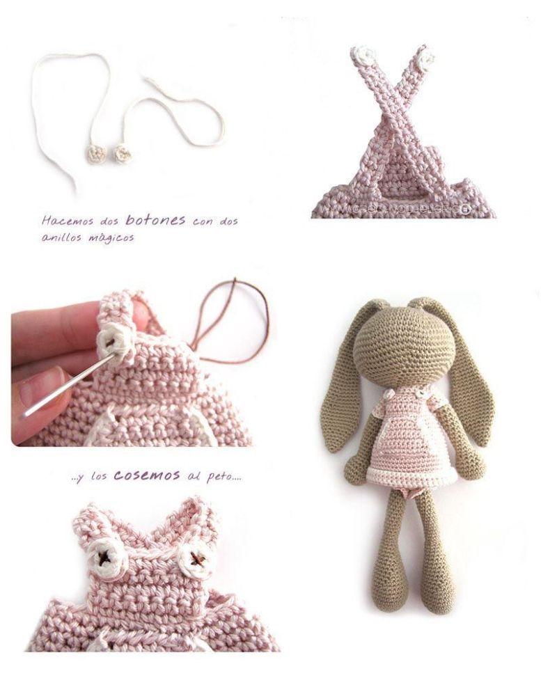 Peluche de crochet conejita de orejas largas - Amigurumi | Patrón ...