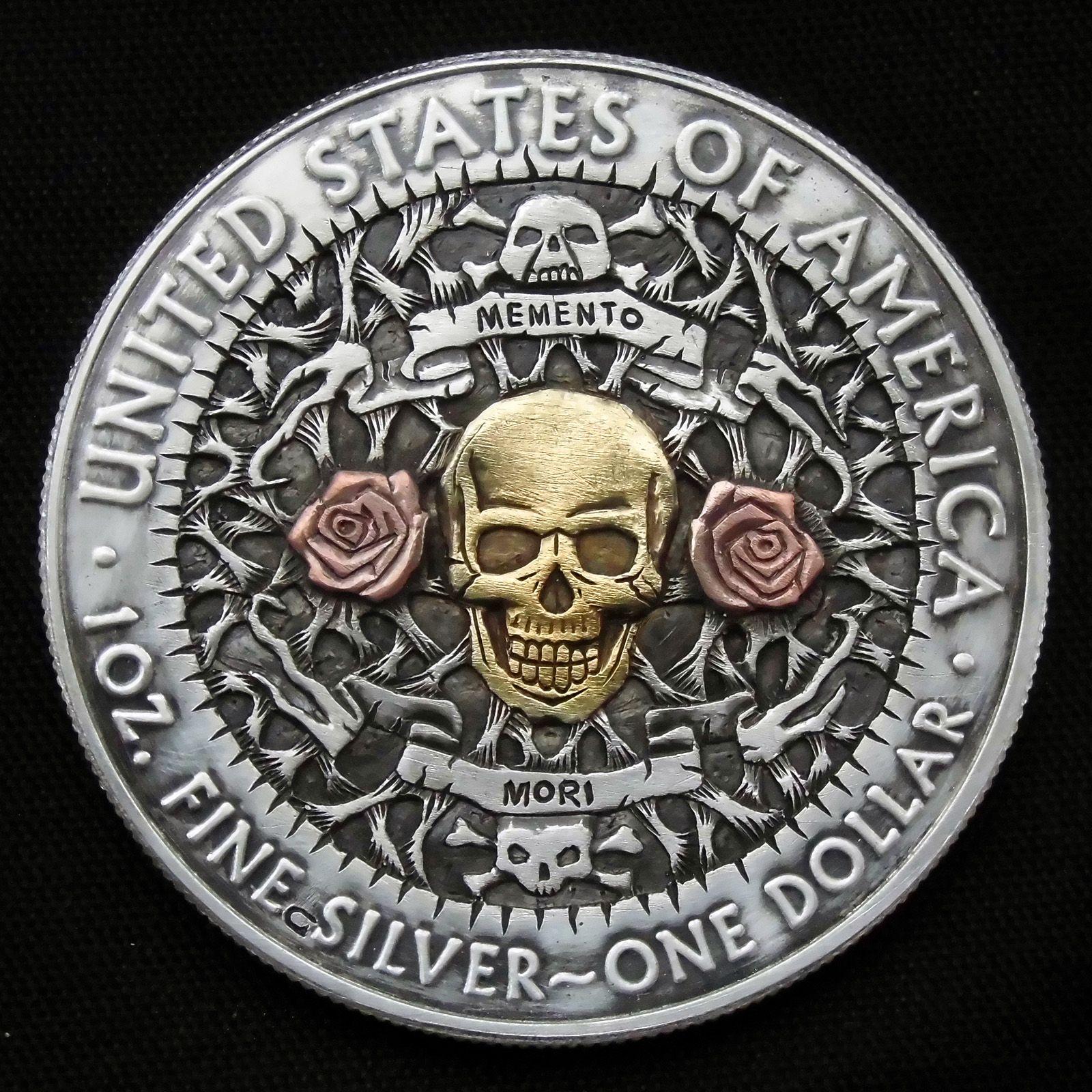 Memento Mori 1 Oz Fine Silver One Dollar Hobo Nickel Style Hand Carved Hobo Nickel Coin Art Custom Coins