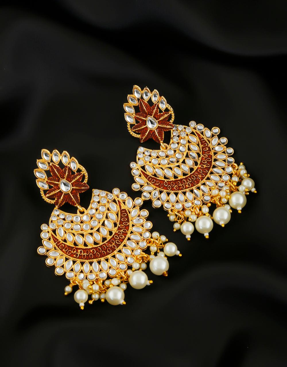 Anuradha Art Gold Finish Studded Sparkling Stone Wonderful Long Traditional Earrings For Women//Girls