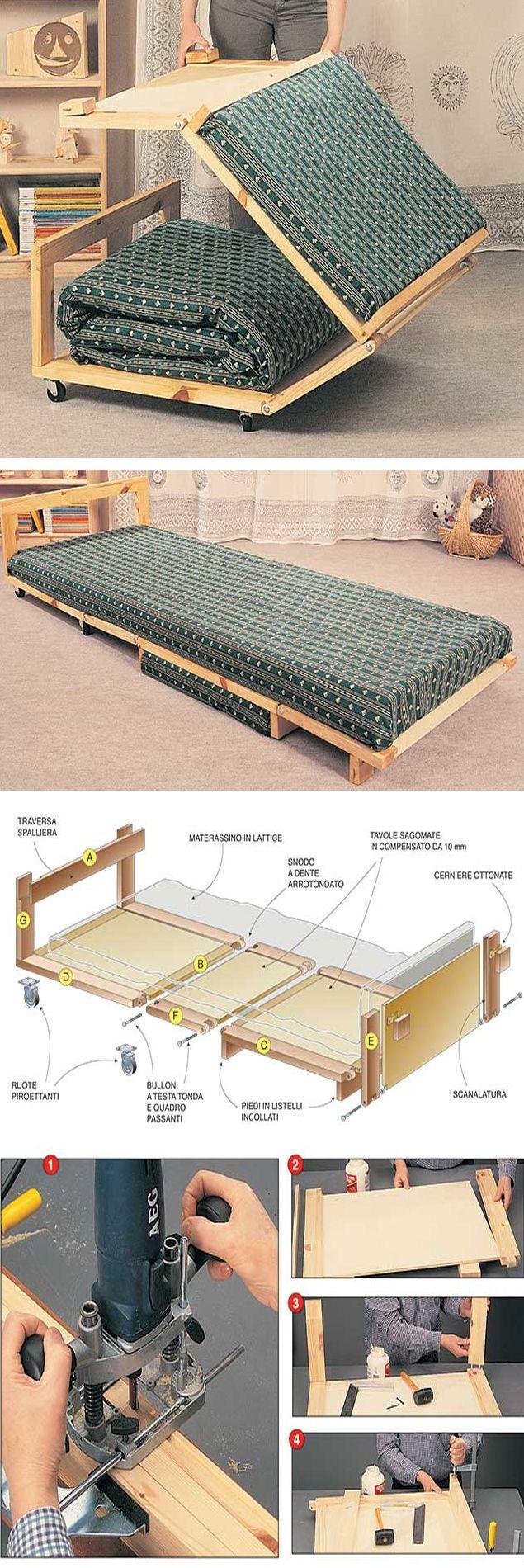 Un letto pouf #faidate, #salvaspazio e pratico   #diy bed #palletbedroomfurniture