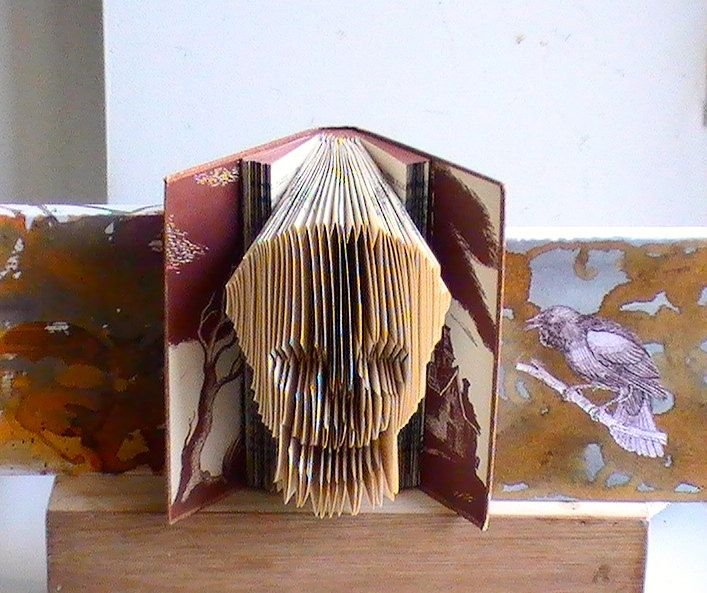 Etsy Honeysuckle Salvage Skull Folded Book Art harry potter - halloween arts and crafts decorations