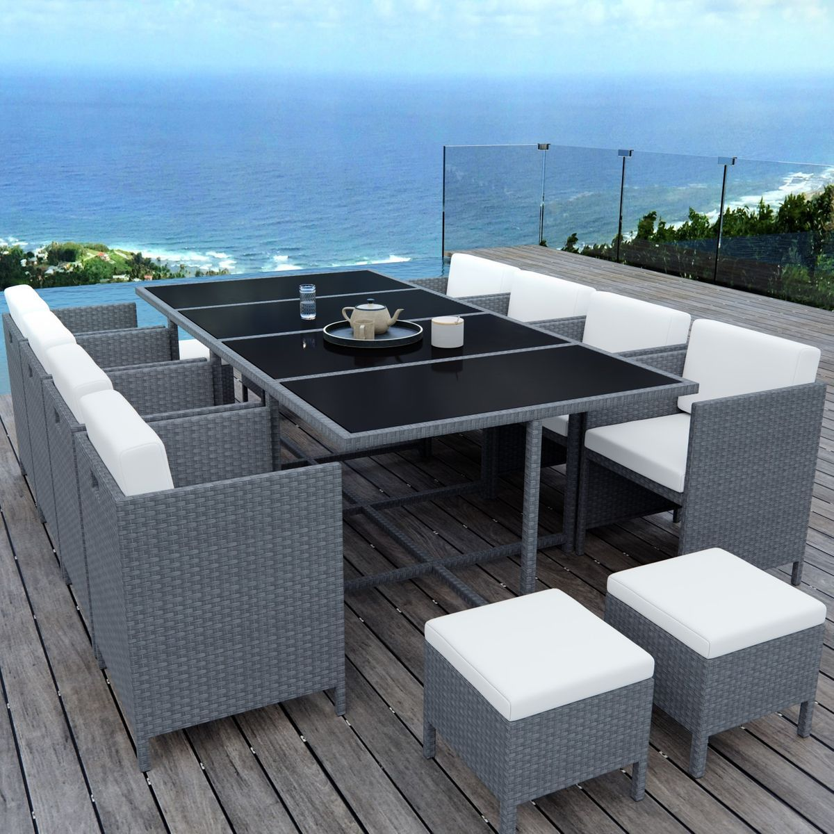Table De Jardin Encastrable 12 Places Resine Tressee Munga 12