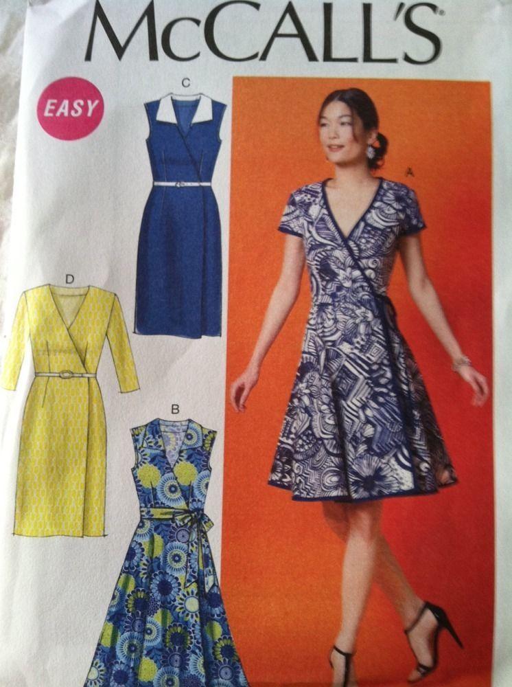 McCall s Sewing Pattern 6959 Ladies Wrap Dress Belt Sizes 14 16 18 ...