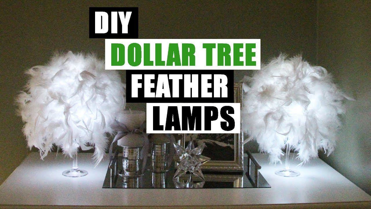 DIY DOLLAR GLAM FEATHER LAMPS Dollar Store DIY Glam Lamp