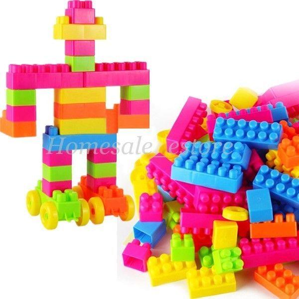 80pcs Plastic Animal Puzzle Building Blocks Children Kids Learn ...