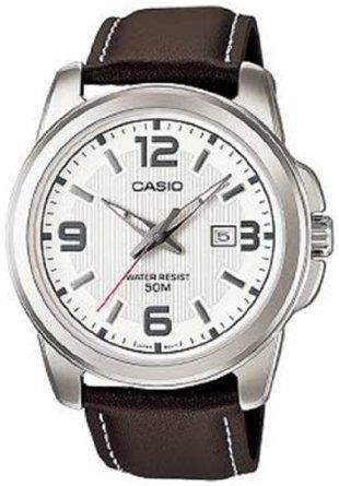 Casio Mens MTP1314L-7AV Brown Leather Quartz Watch with Silver Dial