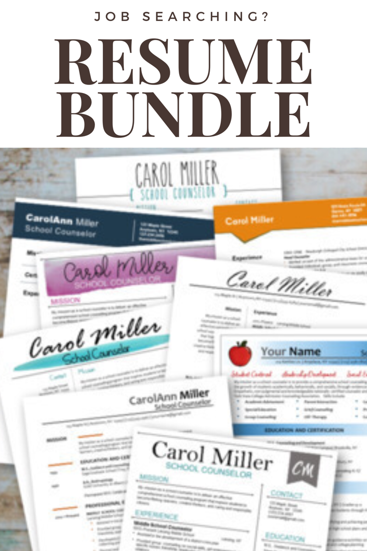 Counselor Resume Template Bundle | School counselor, Counselling and ...