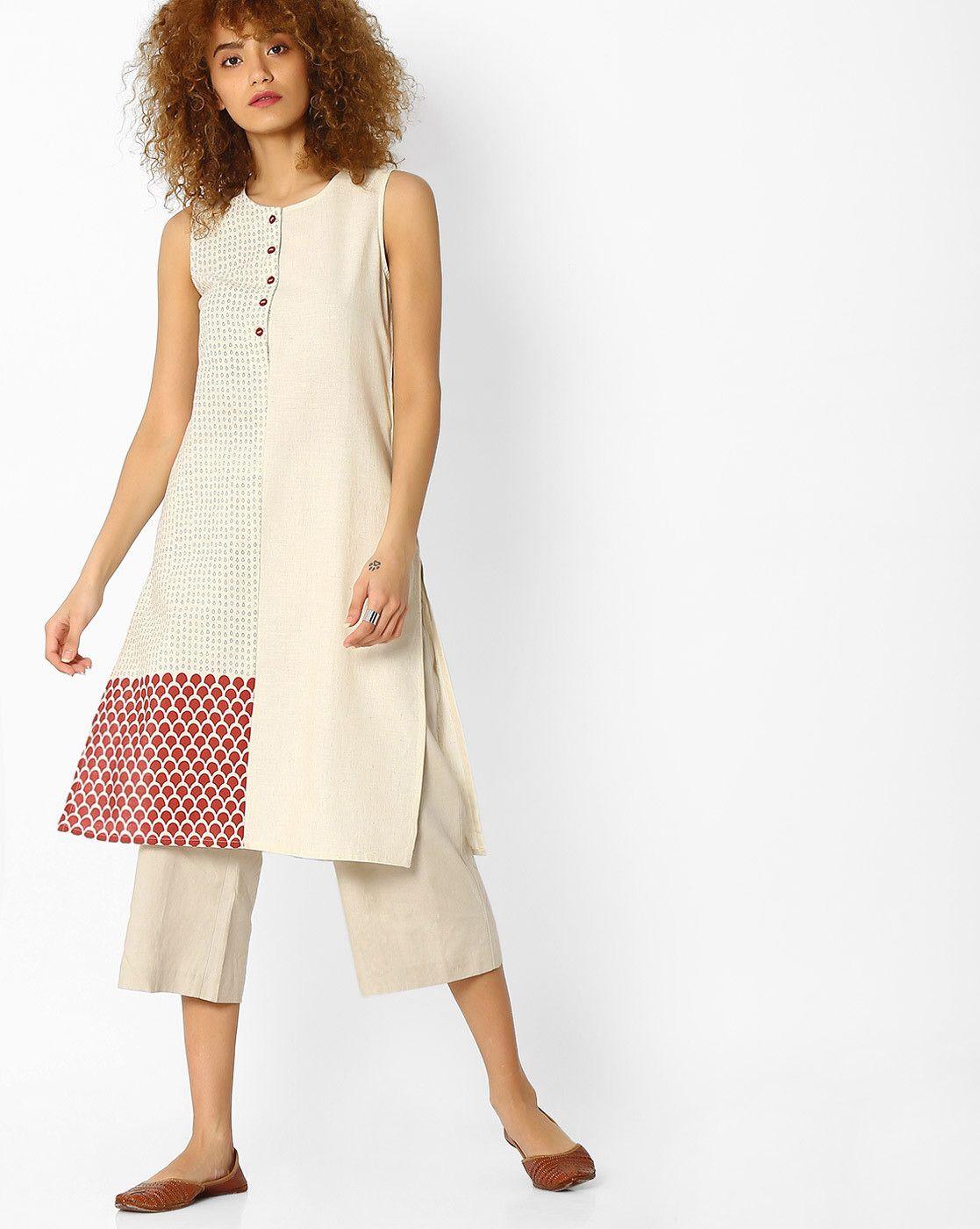 c8f46cbda7a11c Avaasa Cream Flex Ariah Printed Straight Kurta | Kurties & Gowns in ...