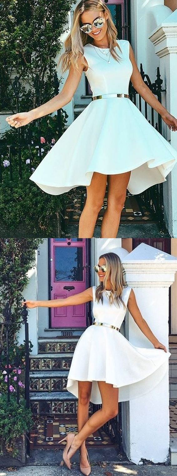 White high low homecoming dressessimple prom party dresshomecoming
